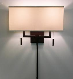 Arch.Bronze Modern Wall Sconce Light with Rect.Shade, Hardwi