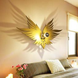 Artistic Gold Wooden Angel Wing Kids Room Shadow Wall Sconce
