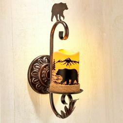 BEAR Remote Control Wall Rustic Cabin Sconce w/ Holder LED C