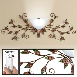 Beautiful Metal Leaves Wireless Home Wall Sconce Lamp with R