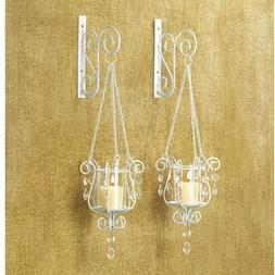 BEDAZZLING HANGING PENDANT WALL SCONCES Romantic White Shabb