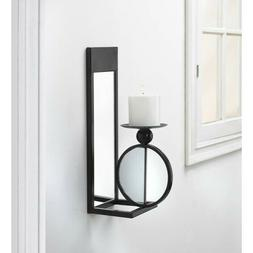 Black Mirrored Sconce Pillar Candle Holder Wall Decor
