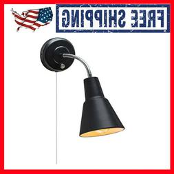 Black Wall-Mount Sconce Light Task Lamp Hardwire Plug-In Rea