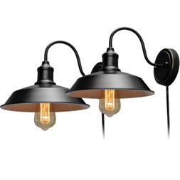 Stepeak Black Wall Sconce with Plug in Cord and On Off Toggl