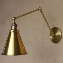 Brass Finished Swing Arm Wall Sconce Light Barn Adjustable F