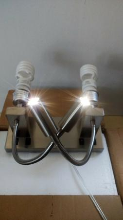 Brilliant Double Sconce Lighting Wall Lamp Fixture Plug-In ~
