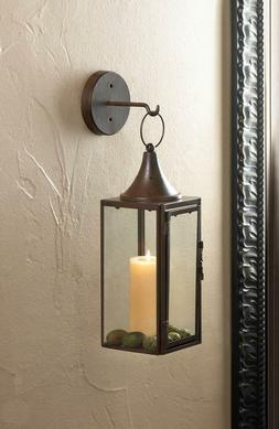 Brown iron Artisanal Sconce WALL hook hurricane candle holde