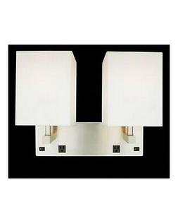 Brushed Nickel 2 Light Wall Sconce With 2 Outlets And On Off
