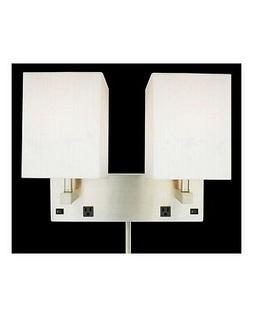 Brushed Nickel Plug In 2 Light Wall Sconce With 2 Outlets An