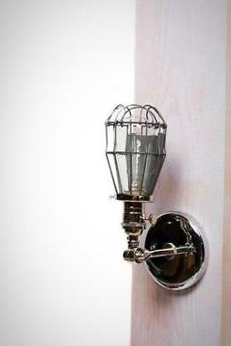 Caged Edison Adjustable Wall Sconce - Polished Nickel
