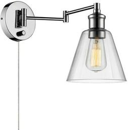 Wall Sconce Chrome Lamp Plug-In Industrial 1-Light Fixtures