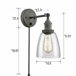 CLAXY Swing Arm Glass Wall Sconces Rustic Mycete Hardwired &