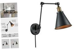 CLAXY Ecopower Vintage Style Swing Arm Wall Lamp Plug-in Wal