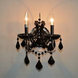 CLEARANCE SALE Maria Theresa Lyre 2 Light BLACK Crystal Cand