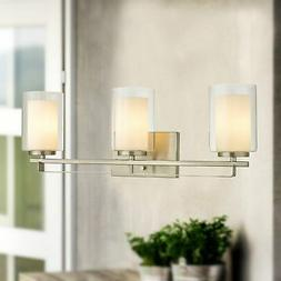 Constantin Satin Nickel 3-Light Wall Sconce with Dual Glass