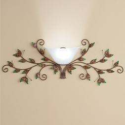Cordless Bronze Metal Leaves Wall Sconce Lamp with Remote Co