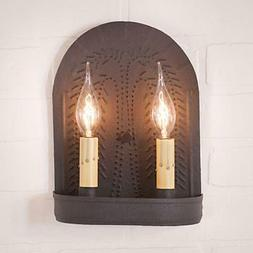 Country new black double wall sconce w/ punch Willow design