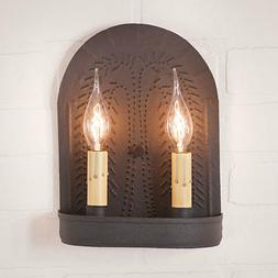 Country new double textured black wall sconce w/ punched WIL
