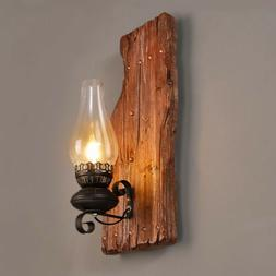 Country Wall Sconce Single Light Vintage Wood Bases Wall Lig
