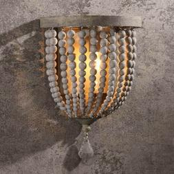 Country Wood Beaded Decorative Indoor Wall Sconce Single Lig