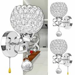 Crystal Wall Sconce Lamp LED Modern Light Bulb Bathroom Hall
