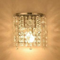 Crystal Wall Sconce Light Fixture Modern Contemporary Chrome