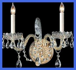 Crystorama 1102-PB-CL-MWP Crystal Two Light Wall Sconce from