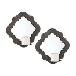 Damask Mirrored Wall Sconces Pair Home Decor