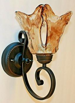 dark bronze wall iron scroll sconce 1 light with amber hand