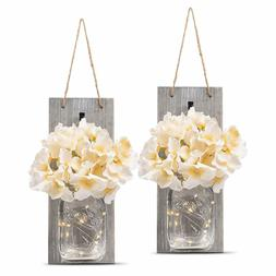Decorative - Rustic Wall Sconces with LED Fairy Lights and F