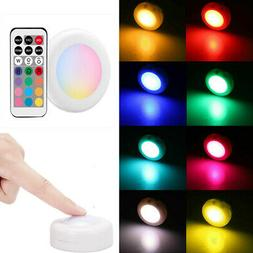 Dimmable RGB Under Cabinet Lighting, Wireless LED Puck Light