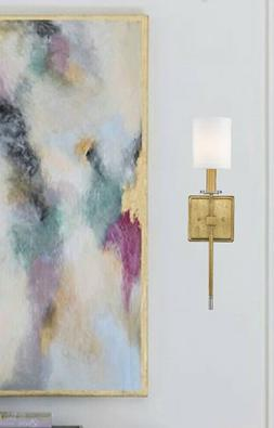 "Distressed Gold 1-Light Sconce 20""H White Shade Wall Fixture"