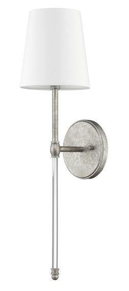 """Distressed Silver 1-Light Sconce 22""""H With Shade Wall Fixtur"""