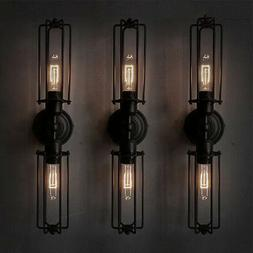 Double Arm Industrial Wall Sconce Mirror Metal Rustic Wall L