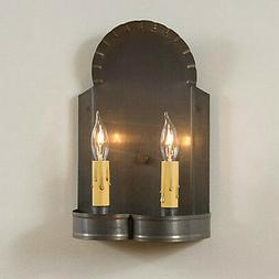 Double Wall Sconce Blackened Tin Hanover Primitive Electric