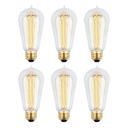 6pcs Edison Bulbs, KinHom 60 Watt Dimmable Vintage Incandesc
