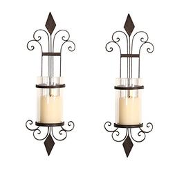 ELEGAN Black Iron Wall Candle Holder Sconce