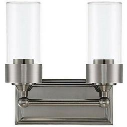 LUMINANCE ESQUIRE 2 LIGHT WALL SCONCE CLEAR GLASS MEDIUM BAS