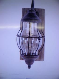 Farmhouse Brown Rectangular Battery Operated LED Wall Sconce