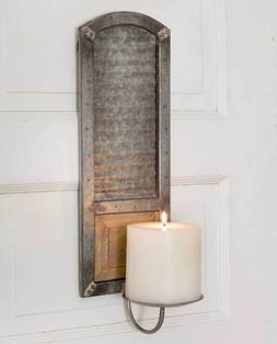 Wall Sconce Pillar Candle Holder Galvanized Corrugated Metal