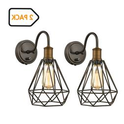 Farmhouse Polygon Plug-in Wall Sconse Set of 2 with On/Off S