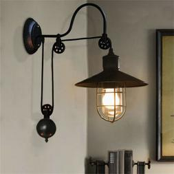 Farmhouse Pulley Adjustable Wall Sconce Cone Shade Wall Ligh