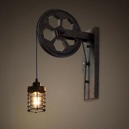 Farmhouse Rustic Loft Iron Wheel Wall Sconce Lifting Pulley
