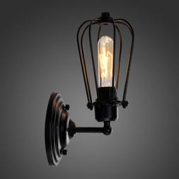 Farmhouse Wire Cage Wall Sconce Black Metal Industrial Wall