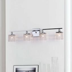 Four-Light Chrome/ Crystal Wall Sconce Bathroom Vanity Light