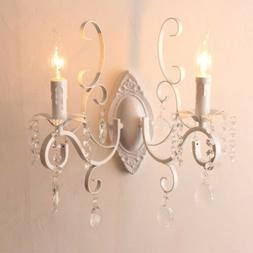 Vintage Country Candle Holder Crystal Wall Sconce E14 Light
