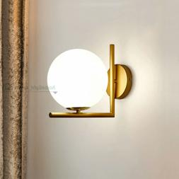 Glass Ball Wall Sconce Gold LED Wall Mounted Light Mid Centu