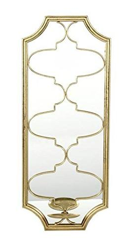 """Hosley Gold Metal Wall LED Tealight Holder with Mirror- 24"""""""