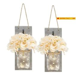 Set Of Two Lighted Sconces Country Rustic Mason Jar Wall Sco