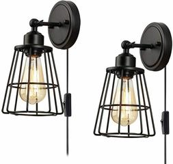 Hardwire or Plug-In Industrial Wall Sconce with on/off Toggl